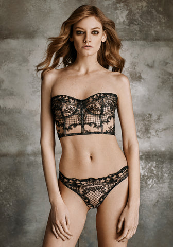 Nuit Interdit Low waist Brazilian Brief with Swarovski Crystals in Black