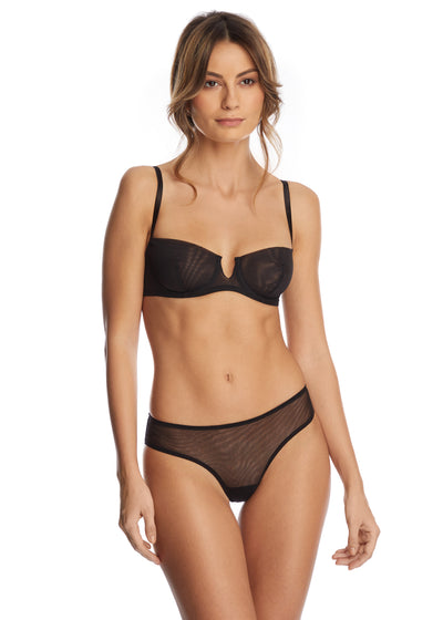 Clair de Lune Underwired Half Cup Bra in Black - I.D. Sarrieri