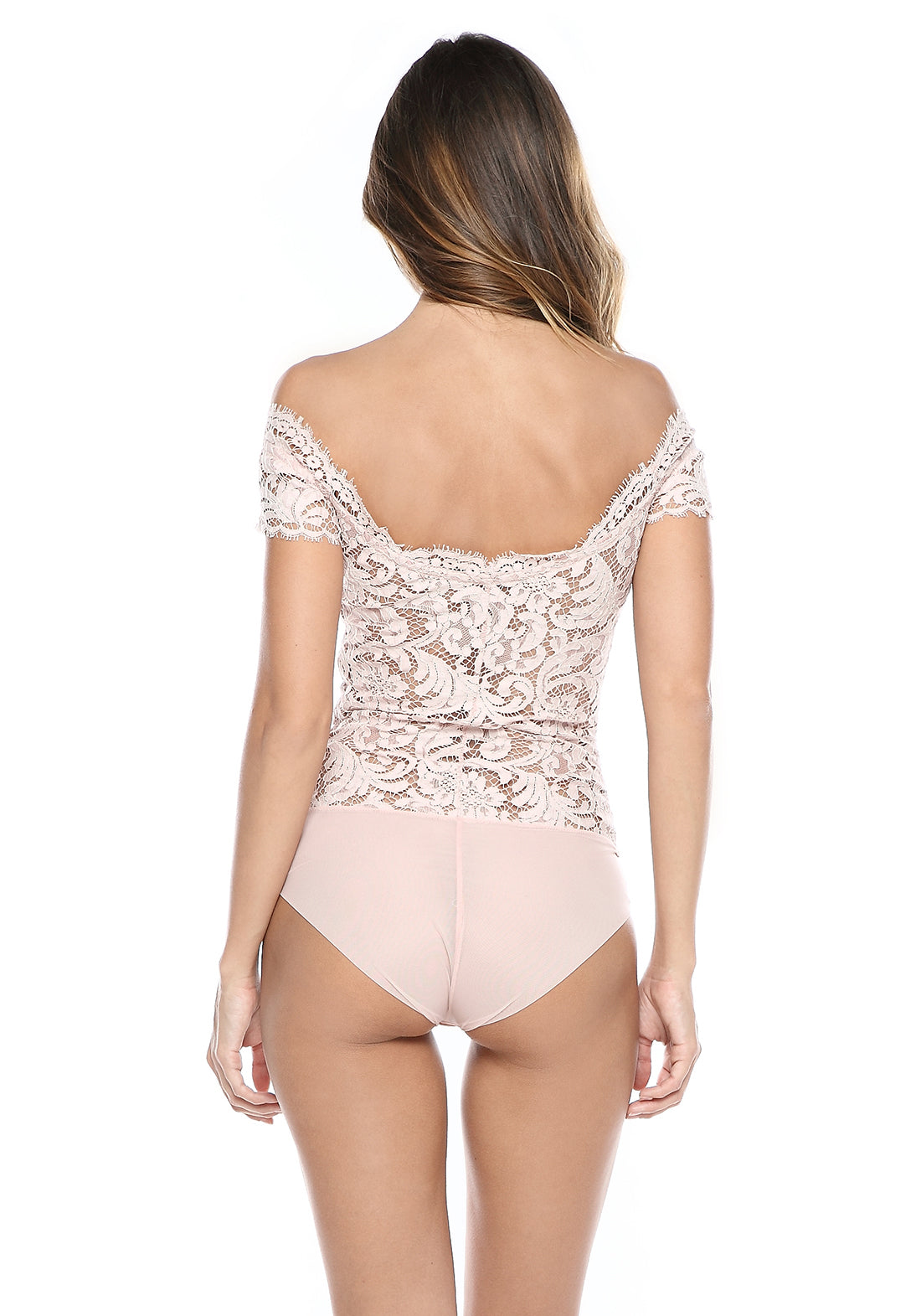 Nuit éphémère Off the Shoulder Bodysuit in Blush