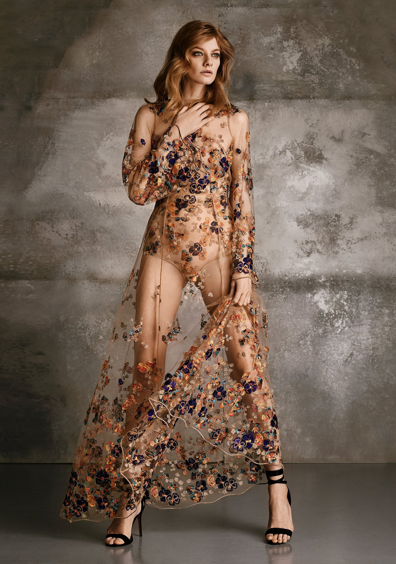 Wonderland Delights Long Embroidered Tulle Dress in Copper Haze