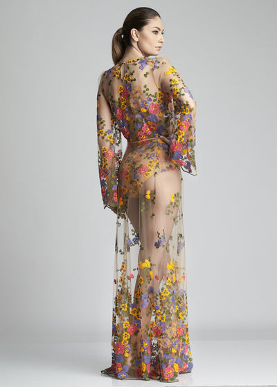 Wonderland Delights Long Embroidered Tulle Dress in Tuscan Summer - I.D. Sarrieri