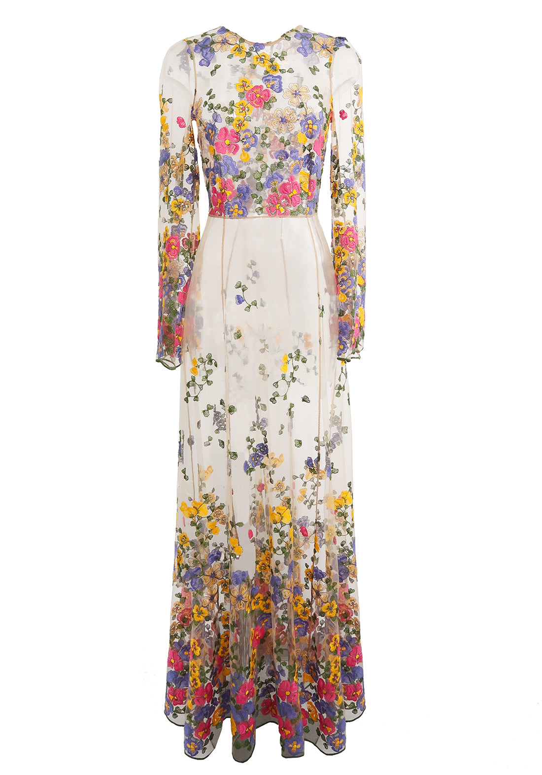 Wonderland Delights Long Embroidered Tulle Dress in Tuscan Summer