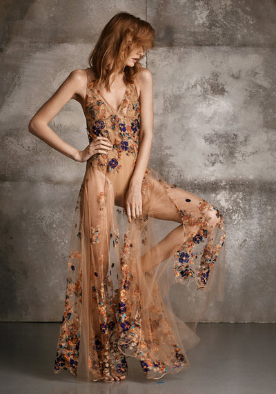 Wonderland Delights Long Triangle Cups Embroidered Tulle Dress in Copper Haze