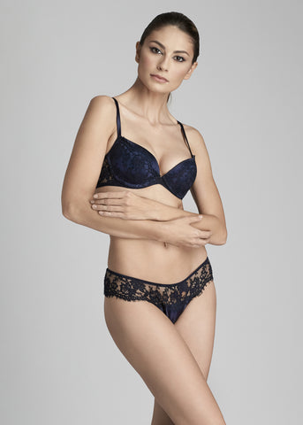 Noir Comme La Robe Swarovski Embellished Triangle Bra in Black