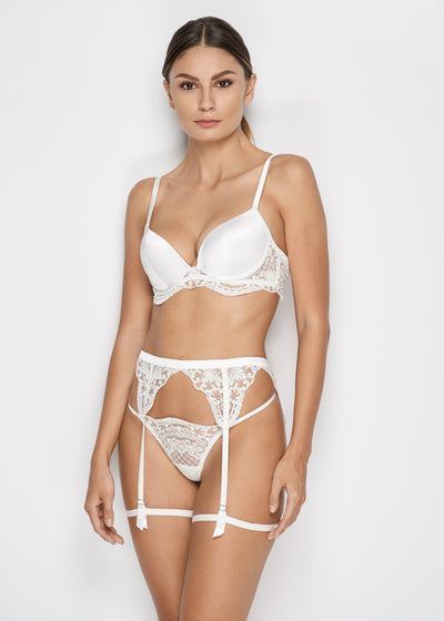 I.D. Sarrieri embroidered suspender in pearl white