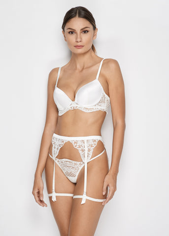 Bella Suspender in Pearl White