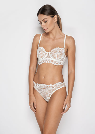 I.D. Sarrieri embroidered tulle brief in pearl white