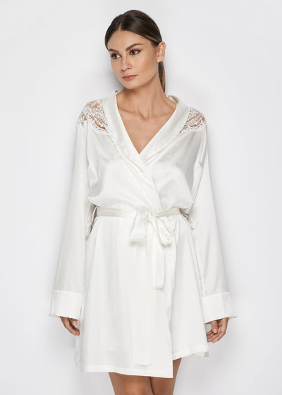 I.D. Sarrieri Silk midi robe in pearl white