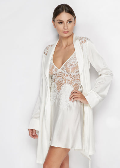 I.D. Sarrieri Silk and lace midi dress in pearl white