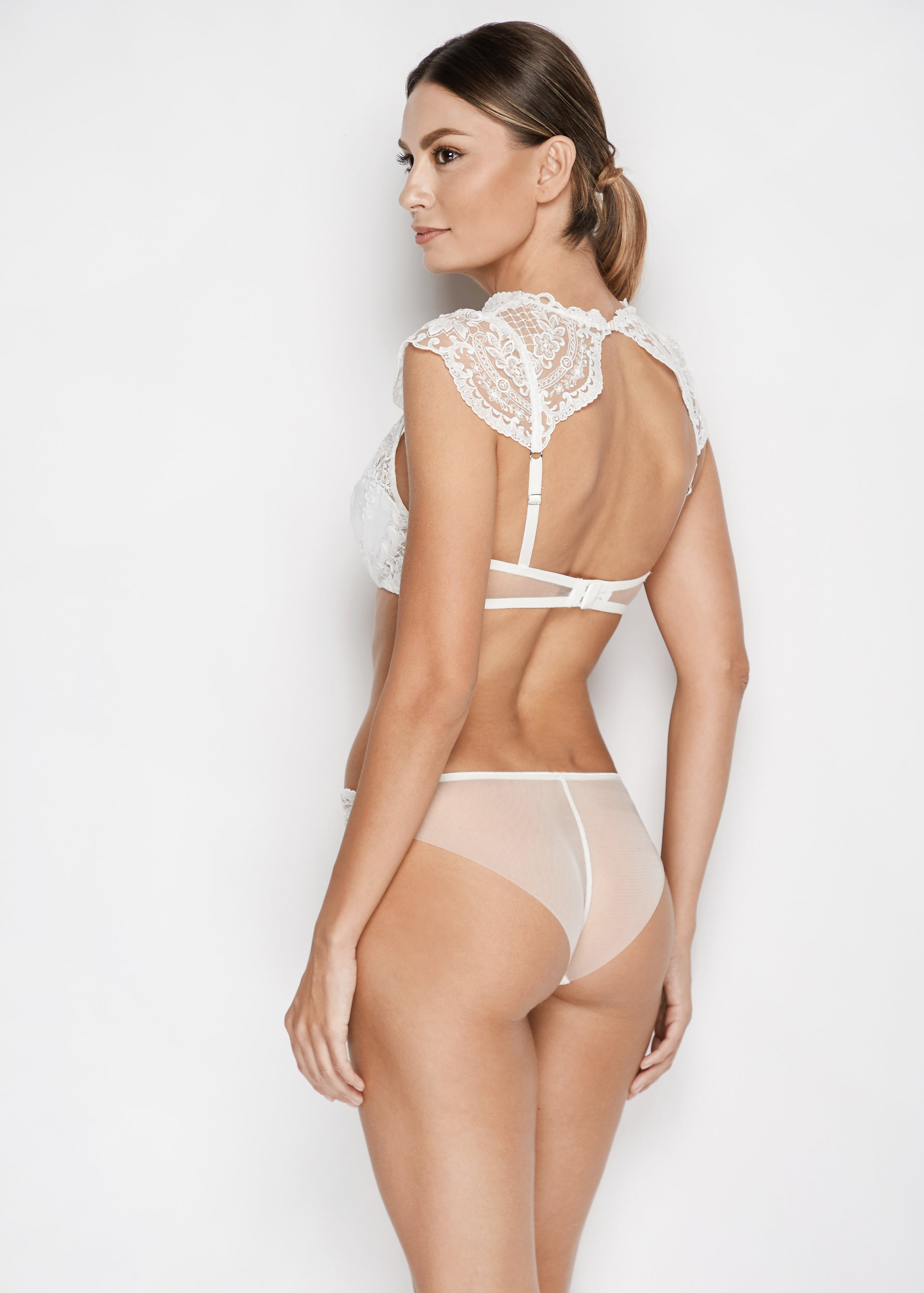 Bella High Neck Balconette Bra in Pearl White - I.D. Sarrieri