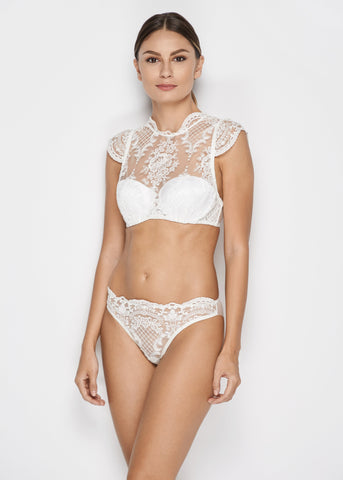 Bella High Neck Balconette Bra in Pearl White