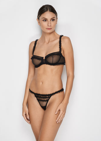 Moulin Rouge Stretch Mesh Thong in Black