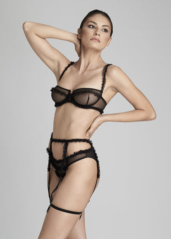 Madeleine Lace and Tulle Brazilian Brief in Black