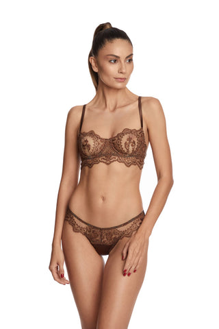 Desert Rose High Neck Padded Push Up Bra in Rose Gold