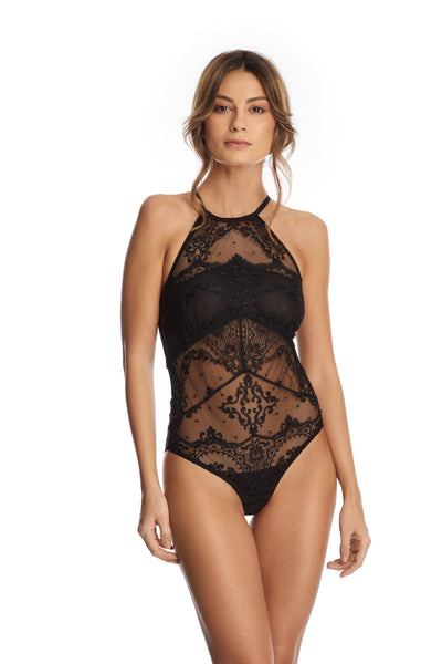Le Désir Open Back Bodysuit in Black