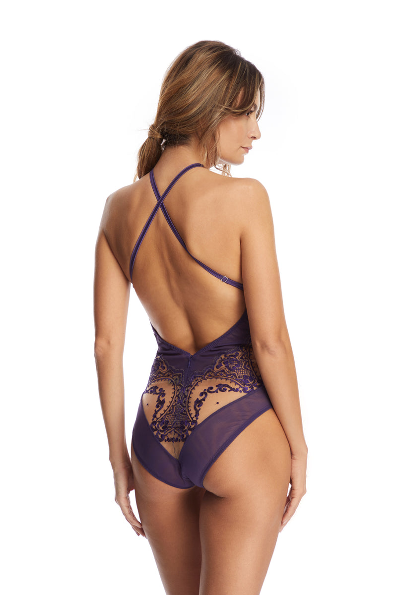 Le Désir Open Back Bodysuit in Purple - I.D. Sarrieri