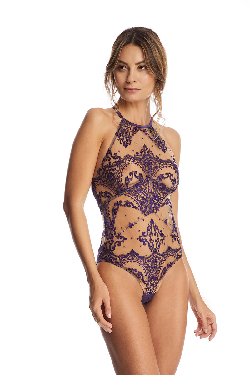 Le Désir Open Back Bodysuit in Purple