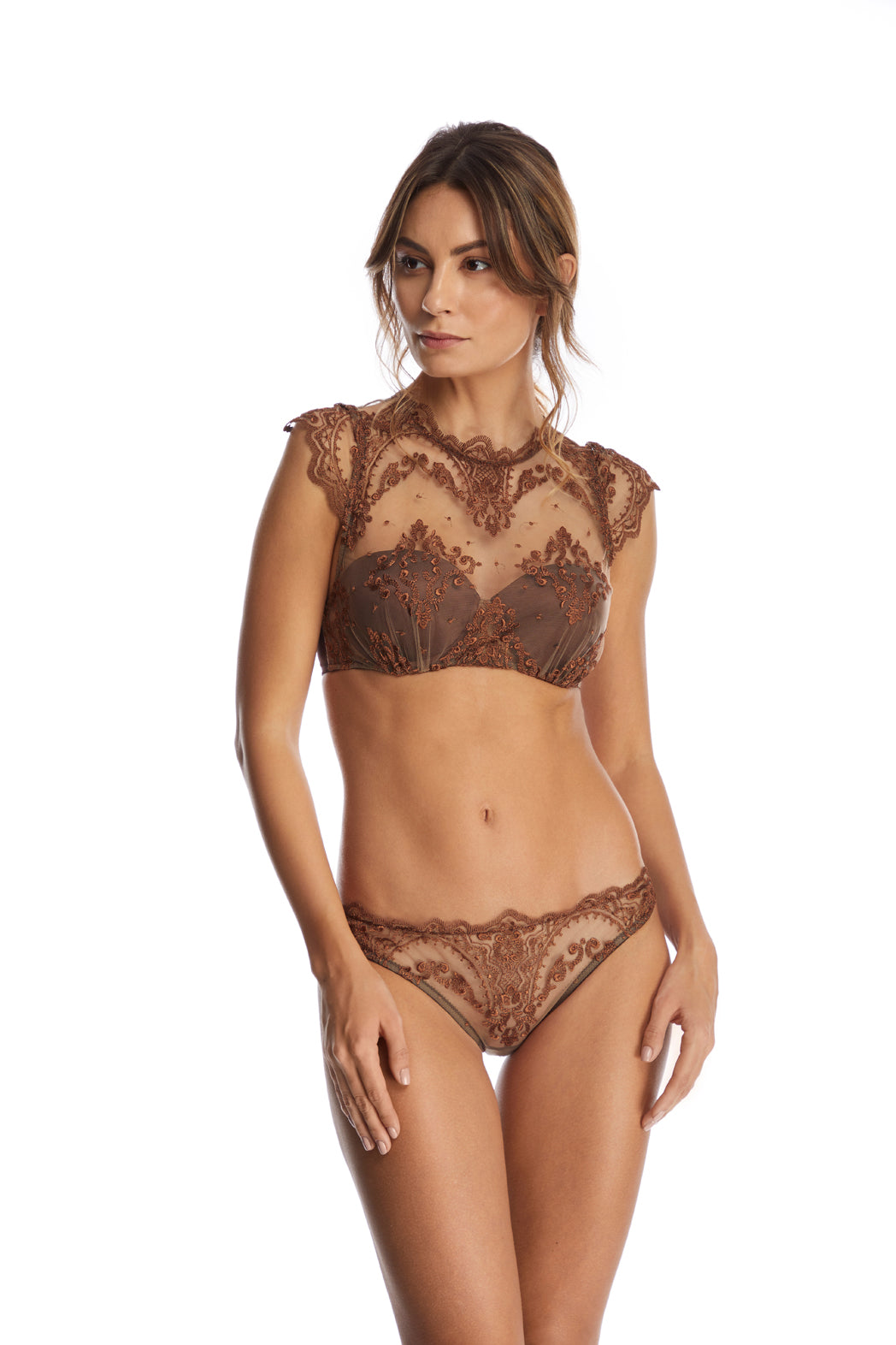 I.D. Sarrieri Lace bustier and brief in brown