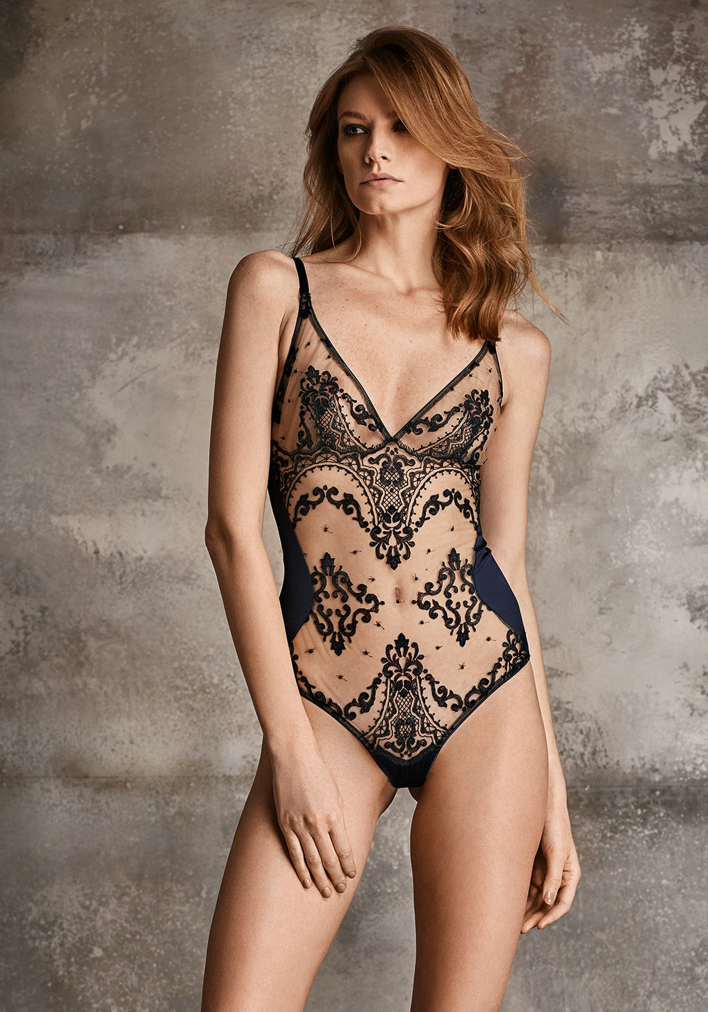 Mystère de Minuit Embroidery Bodysuit in Midnight Blue