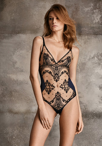 Nuit Interdit Tulle Bodysuit with Swarovski Elements in Black