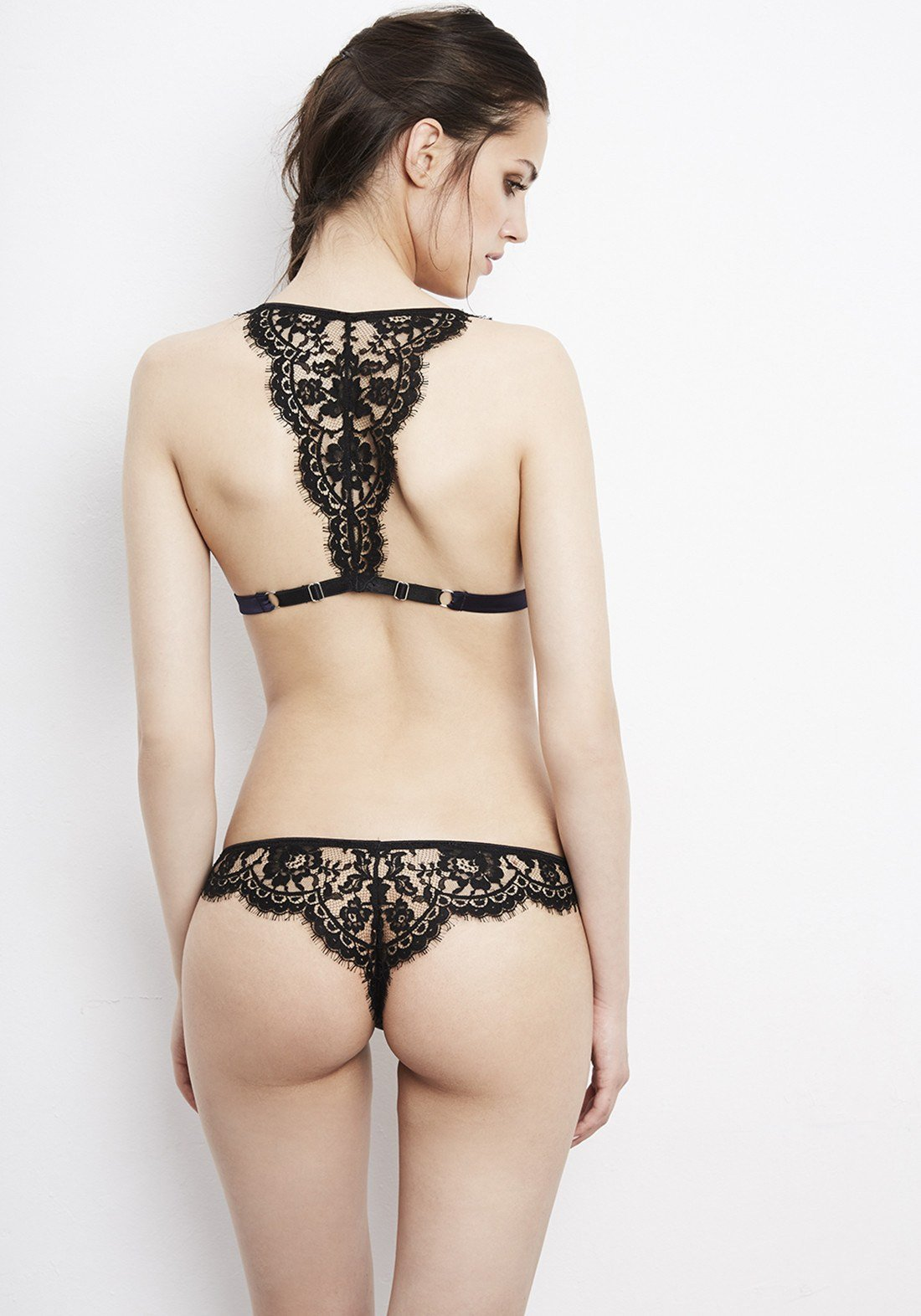 Enigma Silk Satin and Lace Thong in Navy/Black