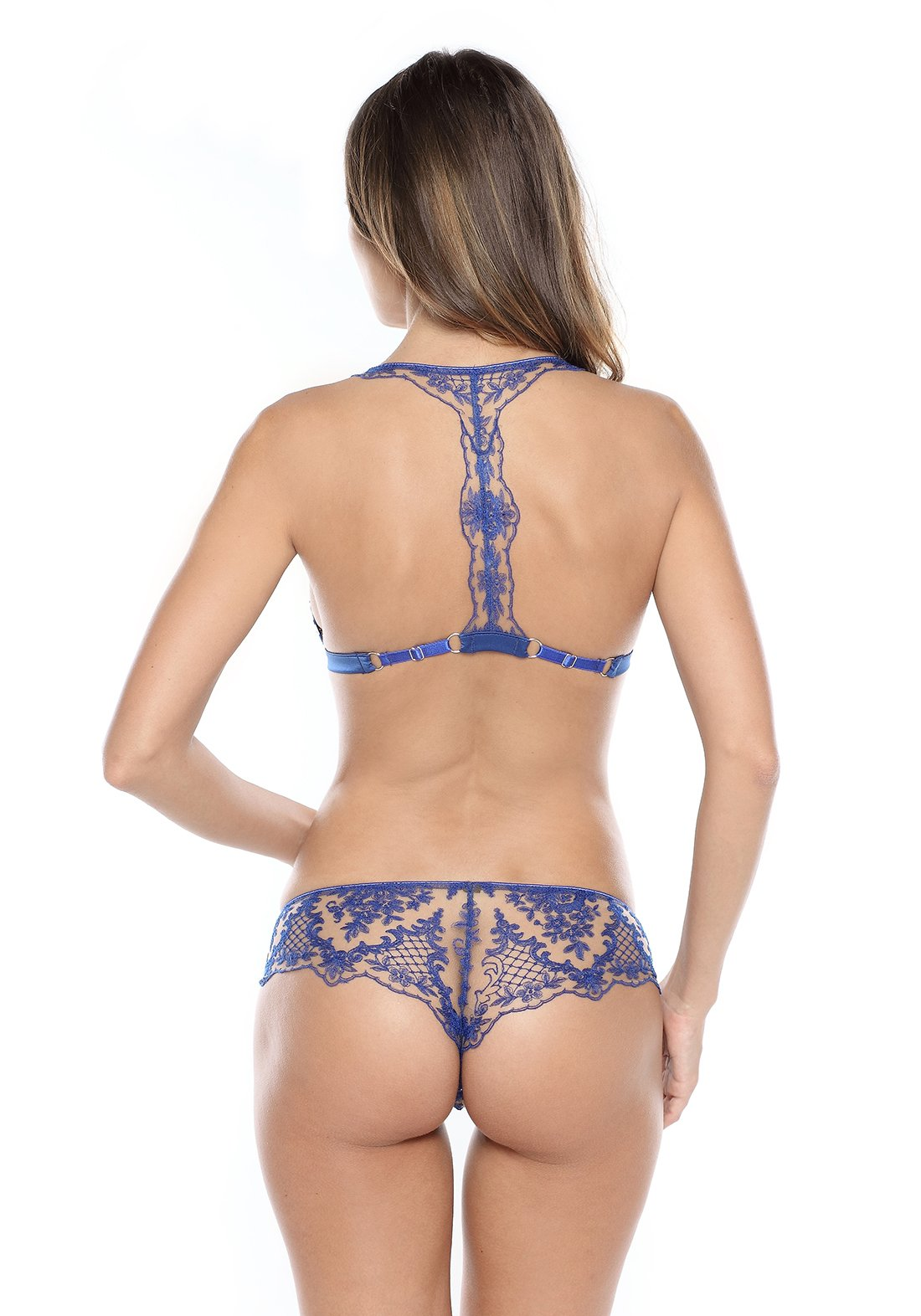 Selene Racer Back Triangle Bra in Royal Blue