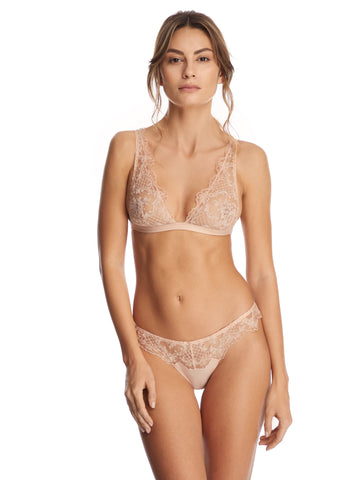 Midnight Delights High Neck Padded Push-Up Bra in Nude Flowers
