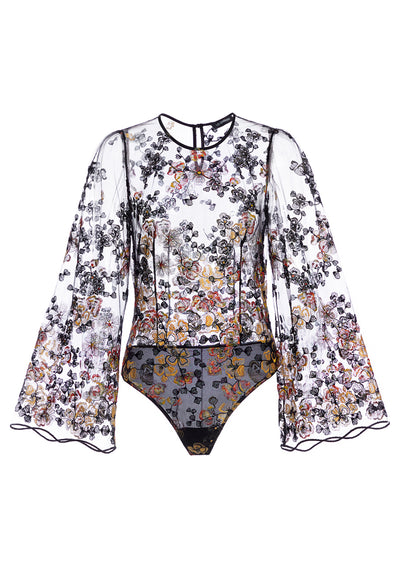 Midnight Delights Long Sleeve Bodysuit in Black Flowers