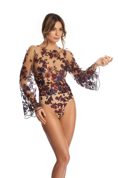 Midnight Delights Long Sleeve Bodysuit in Nude Flowers - I.D. Sarrieri