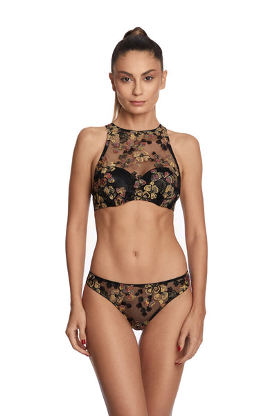 Midnight Delights High Neck Padded Push-Up Bra in Black Flowers