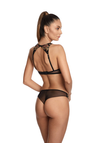 Midnight Delights Thong in Black Flowers