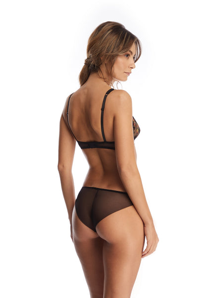 Midnight Delights Briefs in Black Flowers
