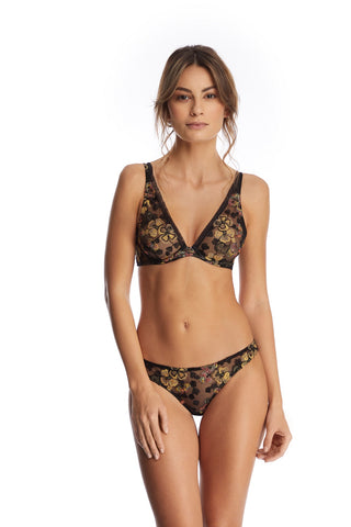 Desert Rose Longline Padded Push Up Bra in Rose Gold