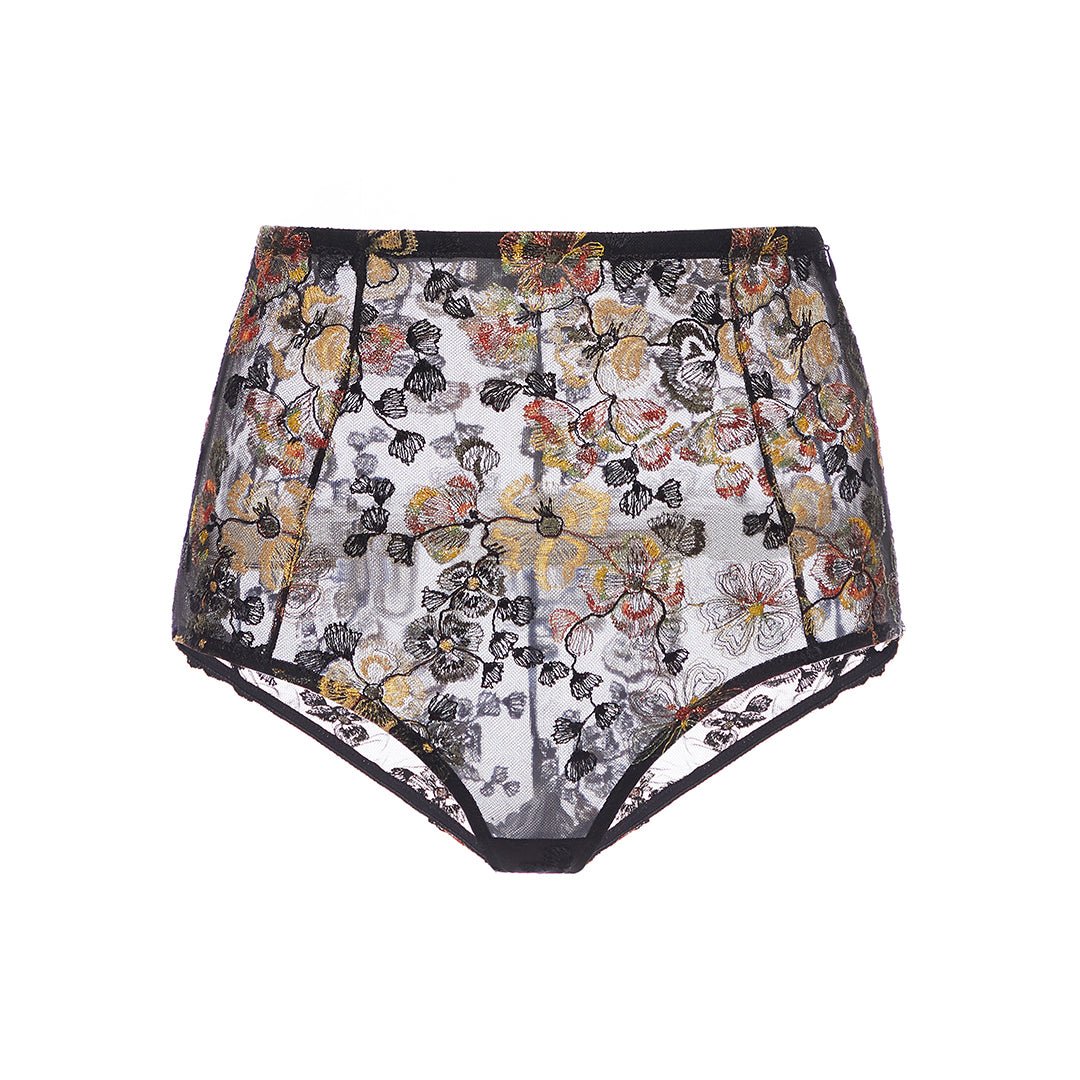 Midnight Delights High Waist Briefs in Black Flowers - I.D. Sarrieri