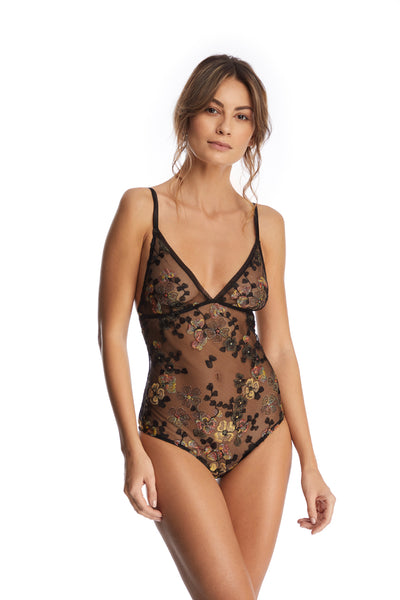 I.D. Sarrieri embroidered tulle triangle cup bodysuit in Black