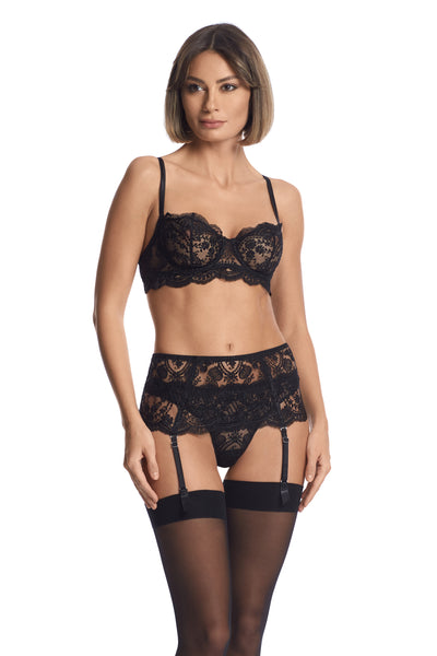 À La Rose Suspender in Black - I.D. Sarrieri