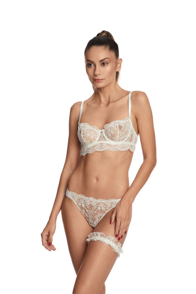 .I.D. Sarrieri cream embroidered tulle thong