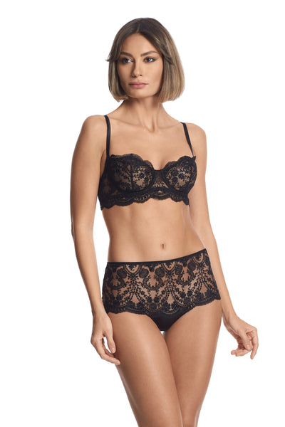 À La Rose Longline Balconette Bra in Black - I.D. Sarrieri