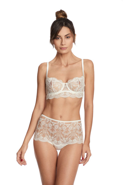I.D. Sarrieri cream embroidery underwired bra