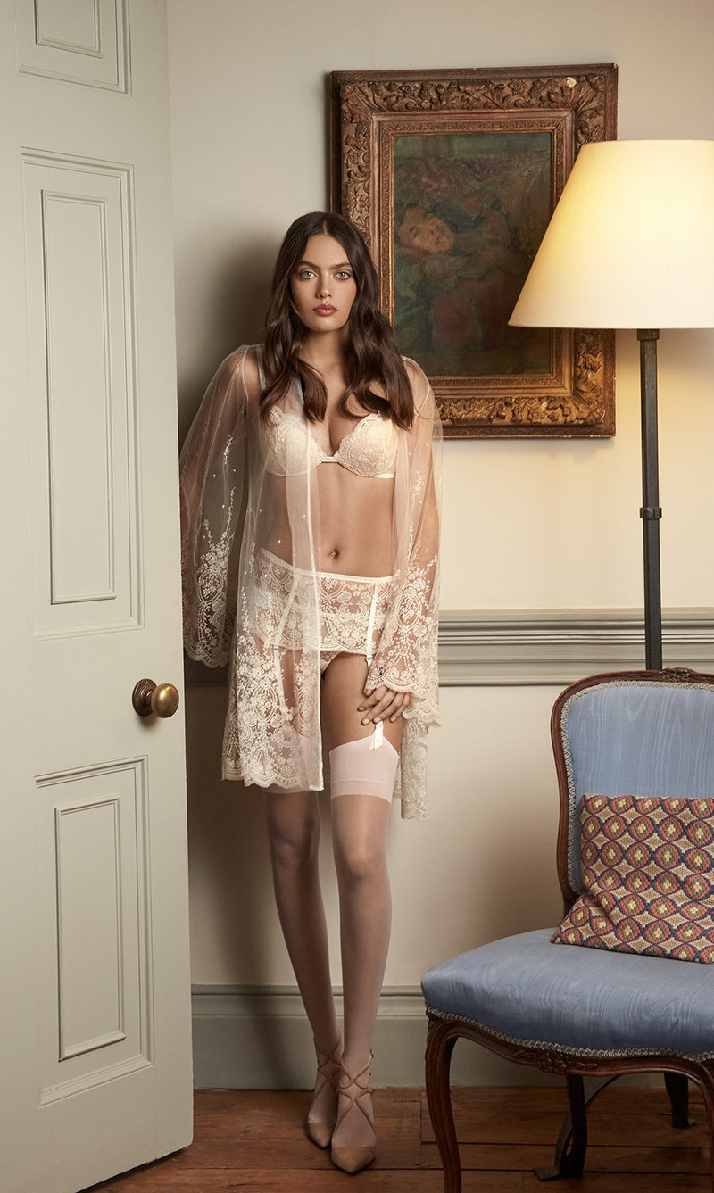 I.D. Sarrieri cream embroidered tulle suspender