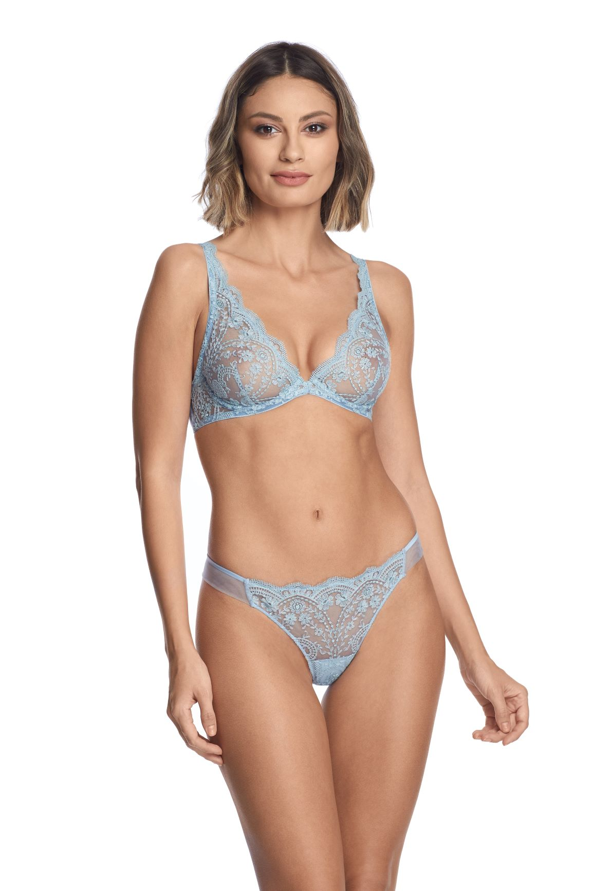 À La Rose Underwired Triangle Bra in Blue Ciel - I.D. Sarrieri
