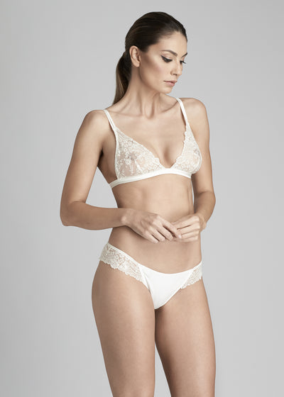 I.D. Sarrieri lace soft triangle bra and thong in Pearled Ivory