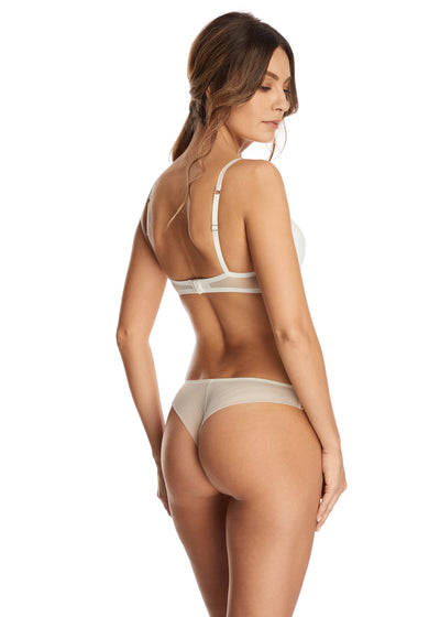 I.D. Sarrieri lace padded push-up bra and thong in Pearled Ivory