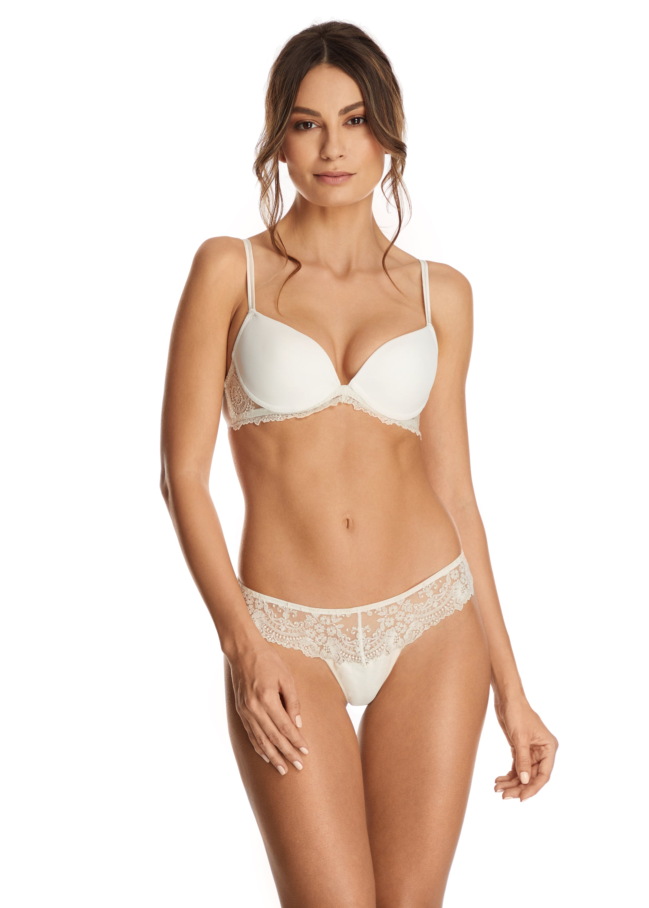 I.D. Sarrieri lace padded bra and thong in Pearled Ivory