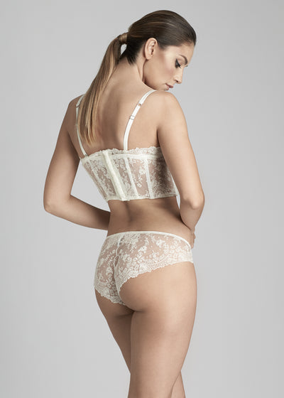 I.D. Sarrieri lace demi bustier and briefs in Pearled Ivory
