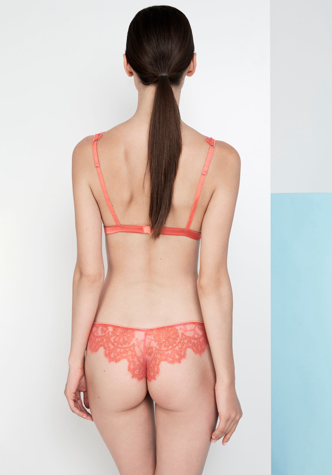 Feu Interdit Soft-Cup Triangle Bra in Coral/Magenta