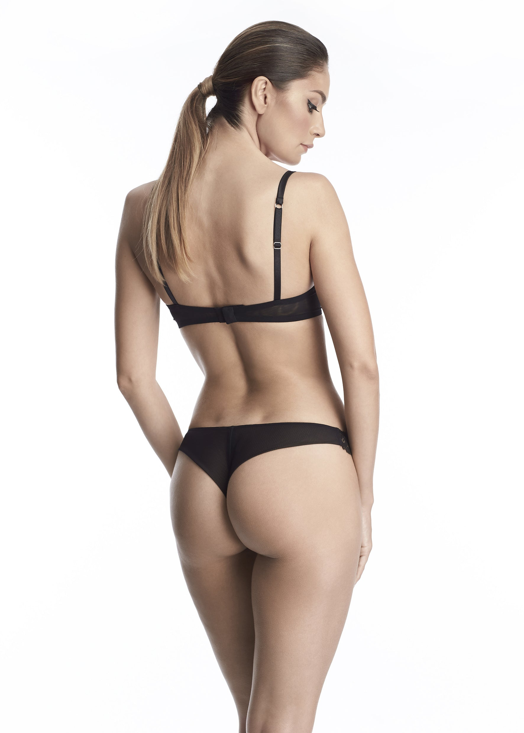 Madeleine Lace Thong in Black