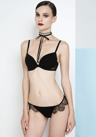 Enigma Racer Back Triangle Bra in Ivory/Black