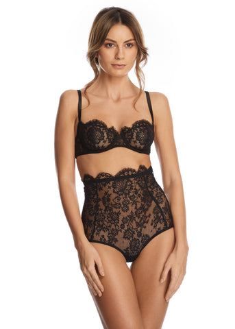La Naissance d'Aphrodite High Waist Brief in Black/Skin