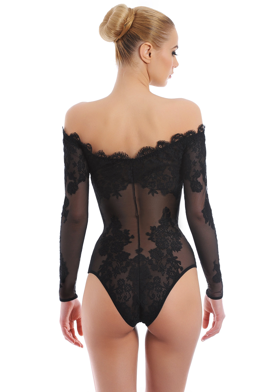 Noir Comme La Robe Off Shoulder Lace Bodysuit in Black